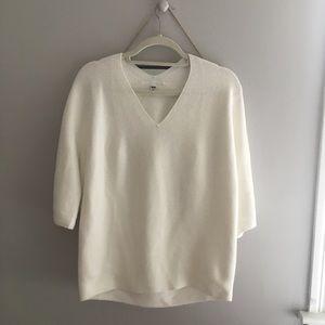 cream white quarter sleeve sweater